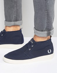 Fred Perry Shields Mid Wax Cotton Mid Trainers Navy