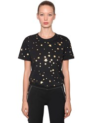 Red Valentino Star Printed Cotton Jersey T Shirt Black