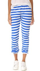 Wildfox Couture Nautical Stripe Sweatpants Clean White Ultramarine Blue