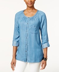 Styleandco. Style And Co. High Low Denim Peasant Shirt Only At Macy's