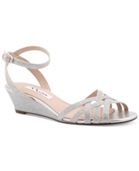 Nina Faria Strappy Wedge Evening Sandals Women's Shoes Silver