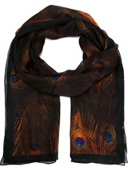 Givenchy Peacock Feather Print Scarf Multicolour