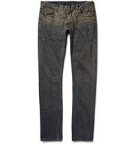 Rick Owens Detroit Skinny Fit Distressed Denim Jeans Blue