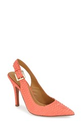 Women's Kay Unger 'Zahara' Slingback Pointy Toe Pump Hot Coral