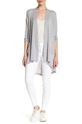 Bobeau Open Front Long Cardigan Petite Gray