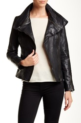 Soia And Kyo Asymmetrical Moto Leather Jacket Black