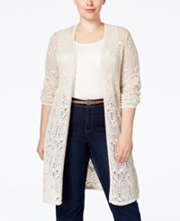 Jm Collection Woman Jm Collection Plus Size Crochet Duster Cardigan Only At Macy's Flax