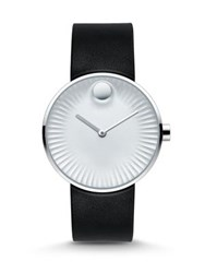 Movado Edge Stainless Steel And Rubber Strap Watch