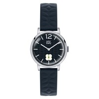 Orla Kiely 'S Floral Stamp Dial Leather Strap Watch Navy