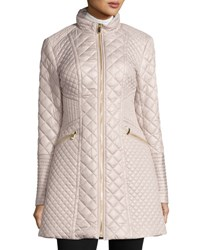 Via Spiga Diamond Quilted Mid Length Coat Oyster
