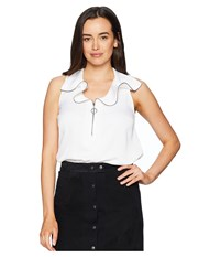Kenneth Cole New York Zipped Front Flouncy Sleeve Top White Clothing