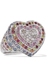 Carolina Bucci Heart 18 Karat White Gold Multi Stone Ring