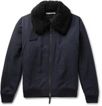 Connolly Goodwood Shearling Trimmed Wool Jacket Navy