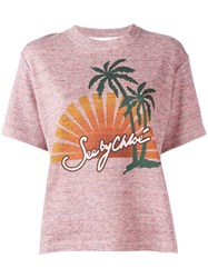 See By Chloe Sunset Print T Shirt Pink Purple