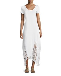 Xcvi Jersey Lace Trim Long Dress White