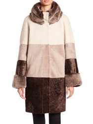 The Fur Salon Rabbit And Shearling Colorblock Coat Beige Brown Grey