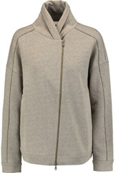 Brunello Cucinelli Embellished Metallic Cotton Blend Jersey Sweatshirt Beige