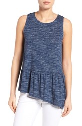 Gibson Women's Asymmetrical Ruffle Hem Top Navy Space Dye