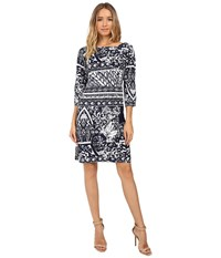 Christin Michaels Zula Long Sleeve Shift Dress Navy White Women's Dress Blue