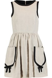 Red Valentino Redvalentino Bow Embellished Pleated Linen Mini Dress Beige