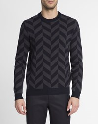 Theory Navy Blue And Grey Crew Neck Herrigs Pullover With Herringbone Pixel Motif