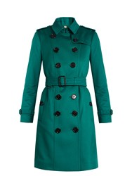 Burberry Sandringham Long Cashmere Trench Coat Dark Green