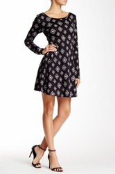 Pink Owl Print Skater Dress Black