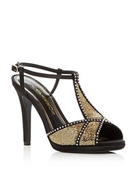Caparros Ecstasy Jeweled Glitter High Heel Sandals Black Gold