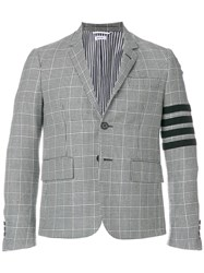 Thom Browne Prince Of Wales Check Heavy Wool Sport Coat Grey