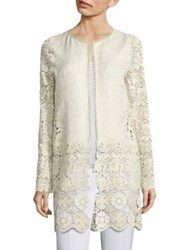 Elie Tahari Jaya Metallic Brocade And Lace Jacket Ivory Gold