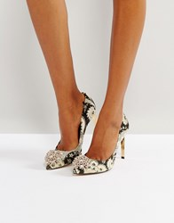 Ted Baker Peetch Ornate Paisley Embellished Court Shoes Multi