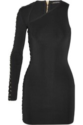 Balmain Asymmetric Lace Up Stretch Knit Mini Dress Black