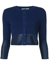 Carolina Herrera Metallic Detail Cropped Cardigan Women Polyamide Viscose S Blue