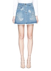 Valentino 'Denimbutterfly' Embroidered Denim Skirt Blue