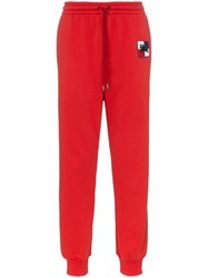 Burberry Logo Track Pants Red