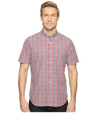 Nautica Short Sleeve Medium Plaid Shirt Red Men's Clothing