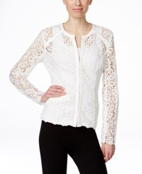 Inc International Concepts Crocheted Zip Front Jacket Only At Macy's Washed White