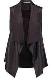 Tart Collections Hudsen Draped Faux Suede And Stretch Knit Vest Dark Gray