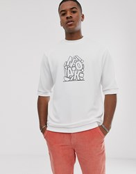 Noak Oversized T Shirt In Textured Fabric With Logo Print White