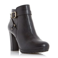 Dune Puggy Strap And Buckle Ankle Boots Black Leather