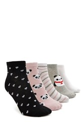 Forever 21 Ankle Sock Set 5 Pack Grey Multi