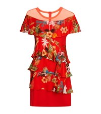 Pinko Ruffle Tier Short Sleeve Dress Female Red