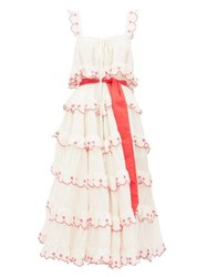 Innika Choo Iva Biigdres Tiered Embroidered Cotton Midi Dress Cream