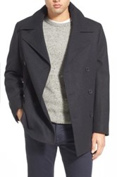 Nordstrom Wool Blend Double Breasted Peacoat Gray
