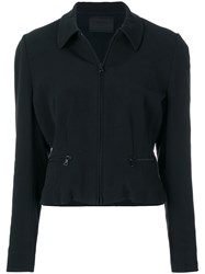 Prada Vintage Zipped Fitted Jacket Black