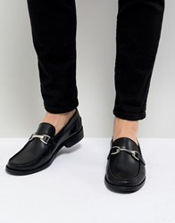 Asos Design Loafers In Black Leather With Tassels