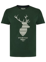 Joules Fair Isle Stag Print T Shirt Rugby Green