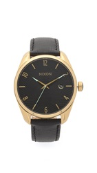 Nixon Bullet Leather Watch Gold Black