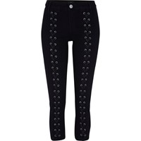 River Island Petite Black Molly Lace Up Jeggings