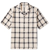 Acne Studios Elm Camp Collar Checked Cotton Shirt Off White